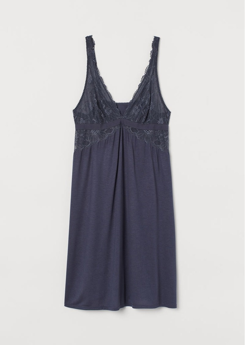 H&M H & M - Nightgown with Lace - Blue