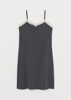H&M H & M - Nightgown with Lace Trim - Gray