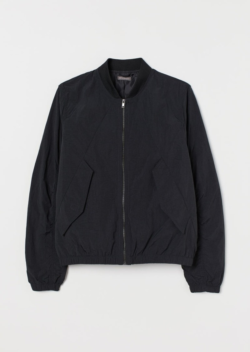 H&M H & M - Nylon Bomber Jacket - Black
