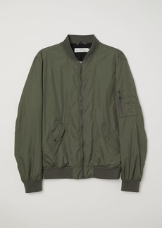 H&M H & M - Nylon Bomber Jacket - Green