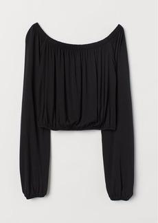 H&M H & M - Off-the-shoulder Jersey Top - Black