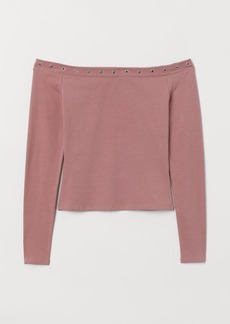 H&M H & M - Off-the-shoulder Jersey Top - Pink