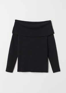 H&M H & M - Off-the-shoulder Sweater - Black