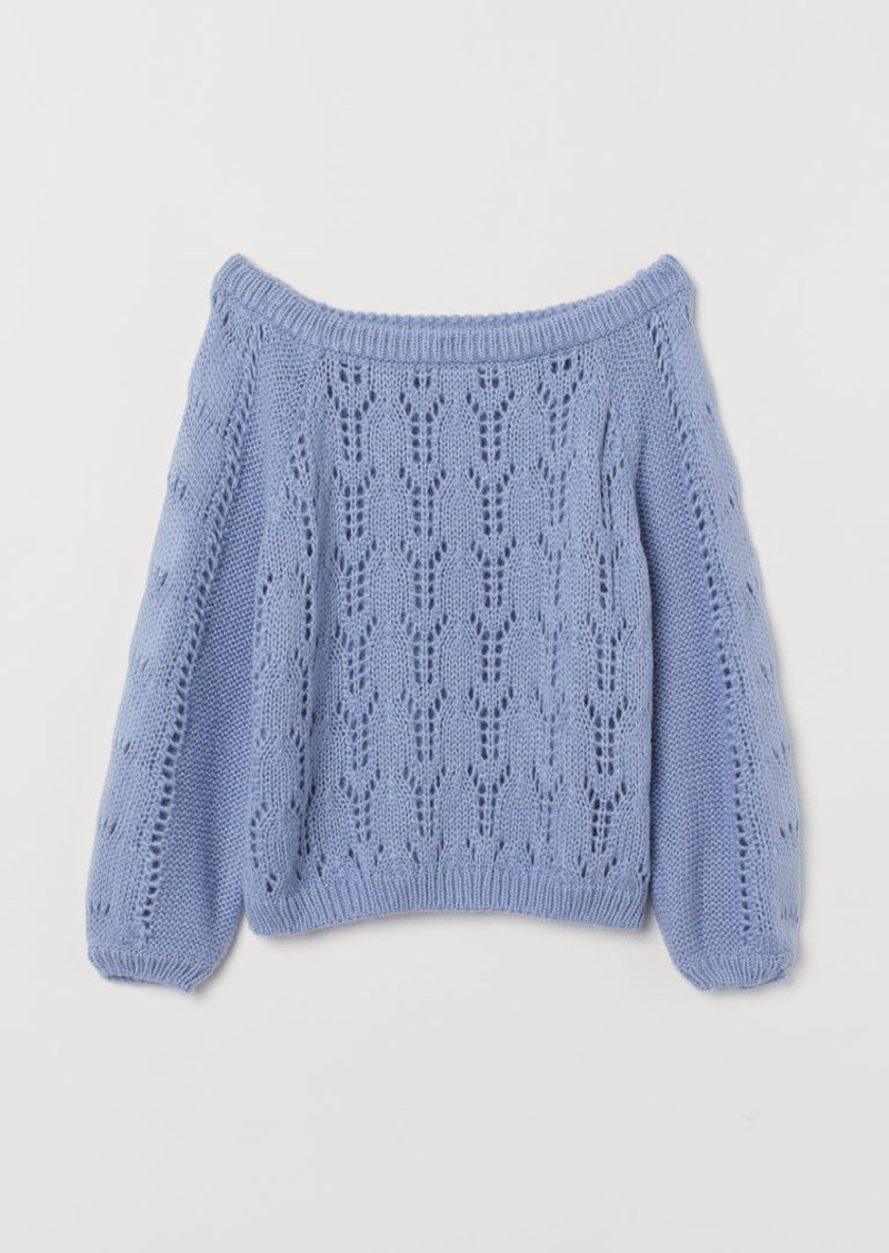 H&M H & M - Off-the-shoulder Sweater - Blue