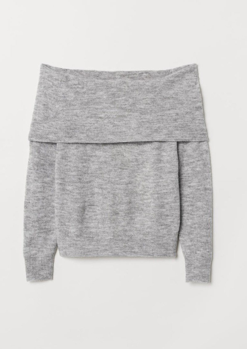 H&M H & M - Off-the-shoulder Sweater - Gray