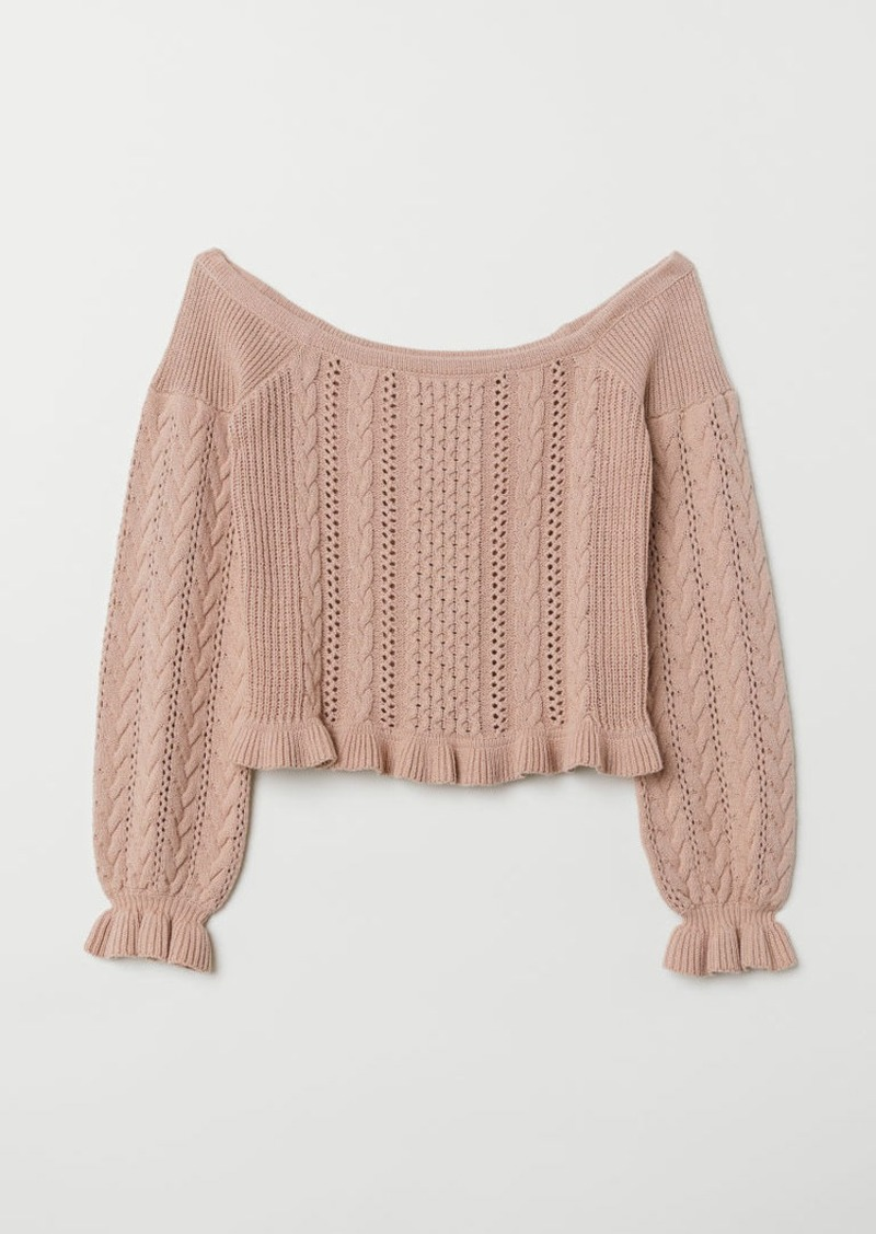 H&M H & M - Off-the-shoulder Sweater - Pink