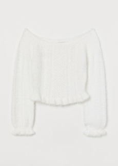 H&M H & M - Off-the-shoulder Sweater - White