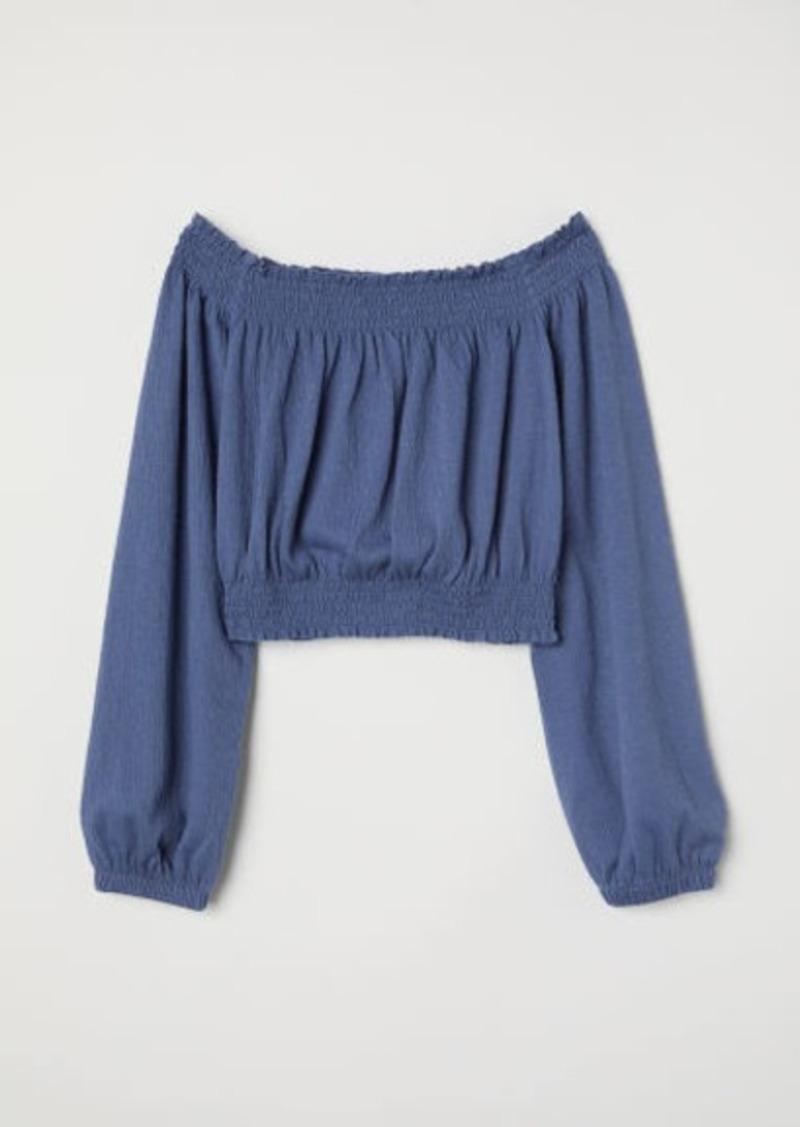H&M H & M - Off-the-shoulder Top - Blue