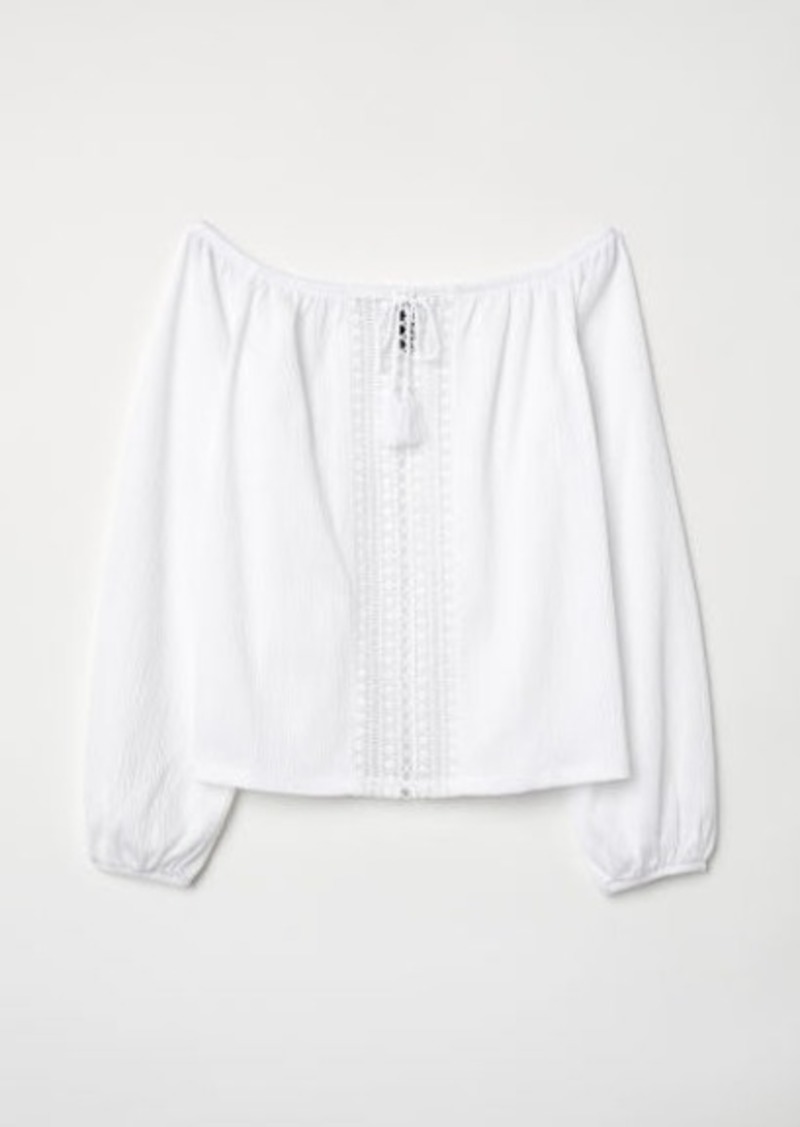 H&M H & M - Off-the-shoulder Top with Lace - White