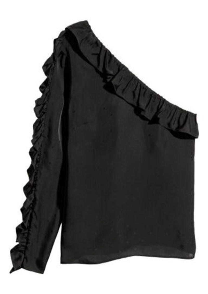 H&M H & M - One-shoulder Blouse - Black