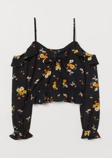 H&M H & M - Open-shoulder Blouse - Black