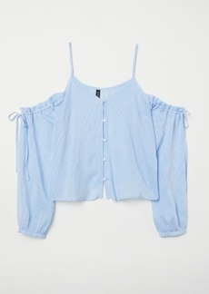 H&M H & M - Open-shoulder Blouse - Blue