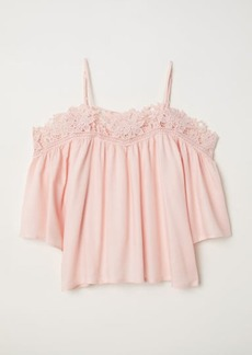H&M H & M - Open-shoulder Blouse - Pink