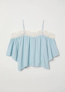 H&M H & M - Open-shoulder Blouse - Turquoise