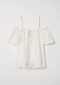 H&M H & M - Open-shoulder Blouse - White