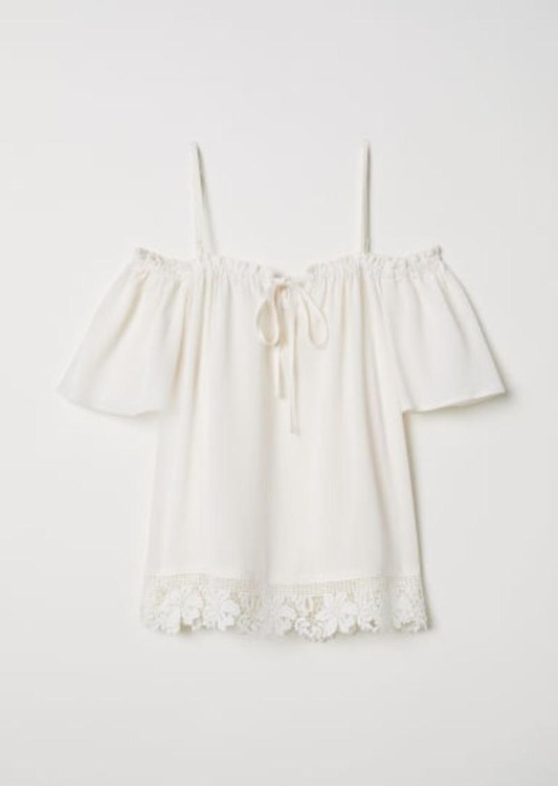 H&M H & M - Open-shoulder Blouse - White