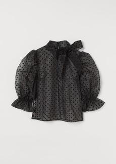 H&M H & M - Organza Tie-neck Blouse - Black