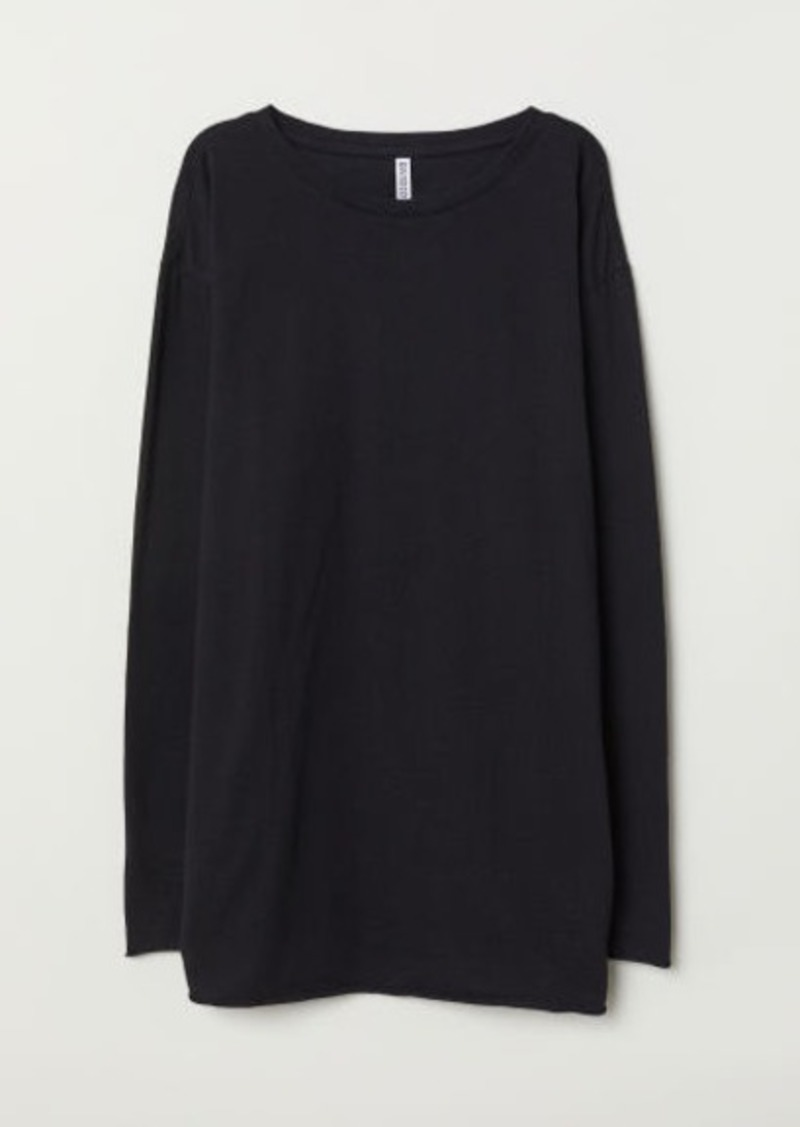 H&M H & M - Oversized Jersey Top - Black