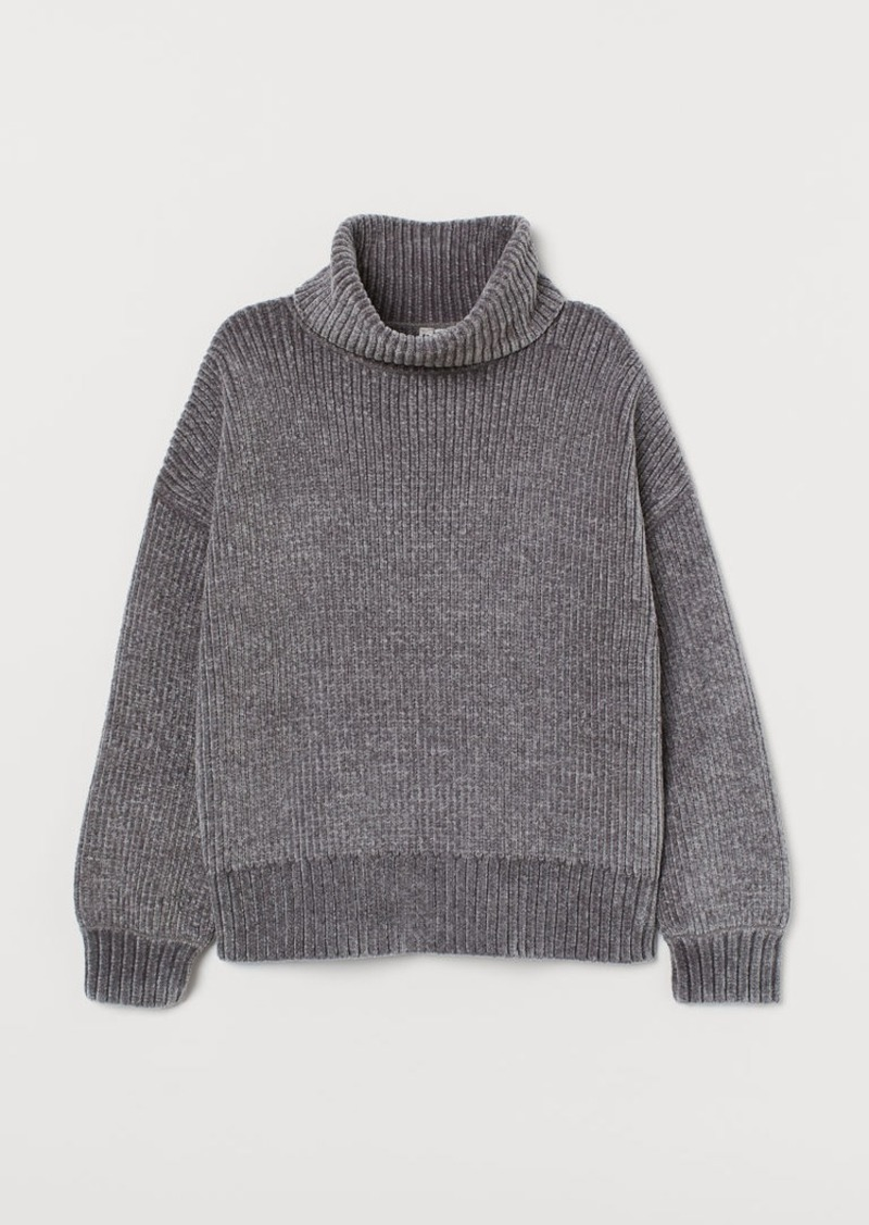 H&M H & M - Oversized Turtleneck Sweater - Gray