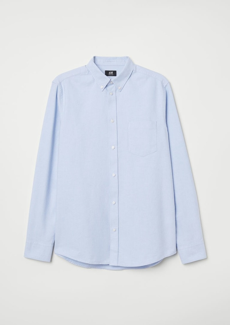 H&M H & M - Regular Fit Oxford Shirt - Blue