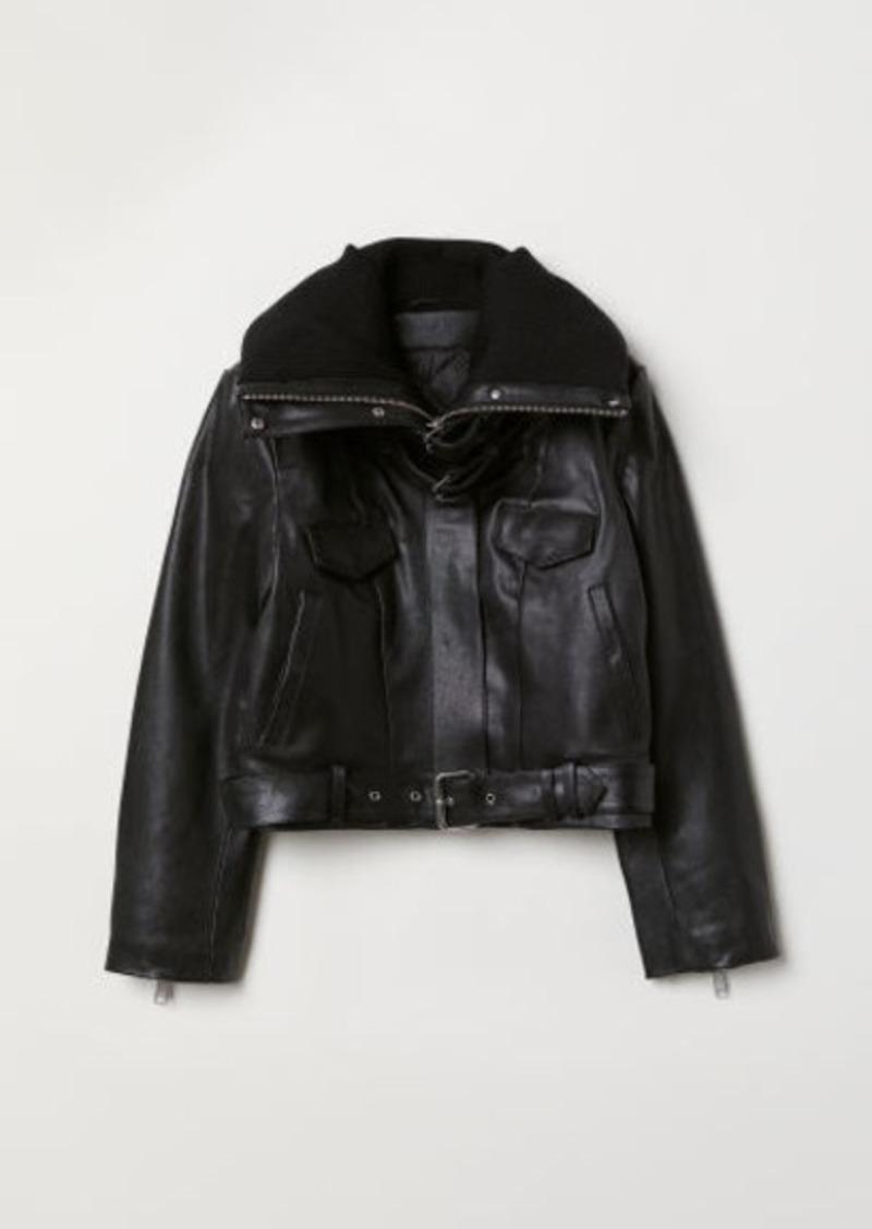 H&M H & M - Padded-collar Leather Jacket - Black