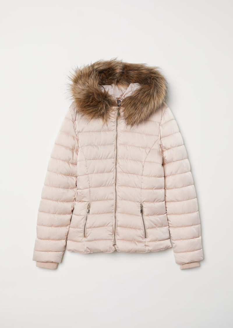 H&M H & M - Padded Hooded Jacket - Beige