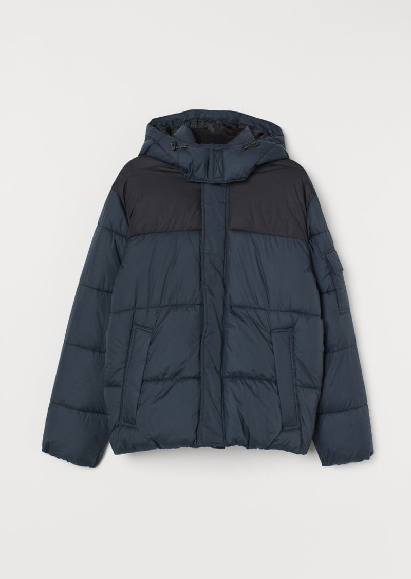 H&M H & M - Padded Hooded Jacket - Blue