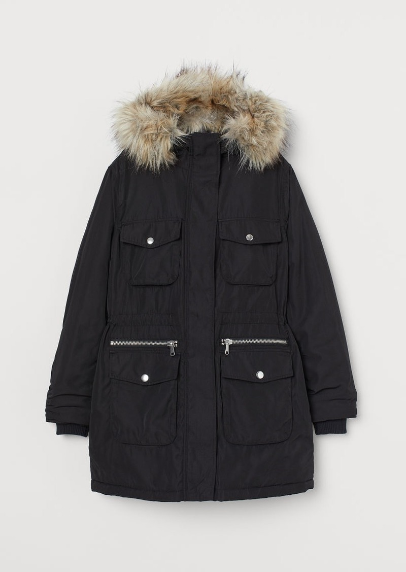 H&M H & M - Padded Parka with Hood - Black