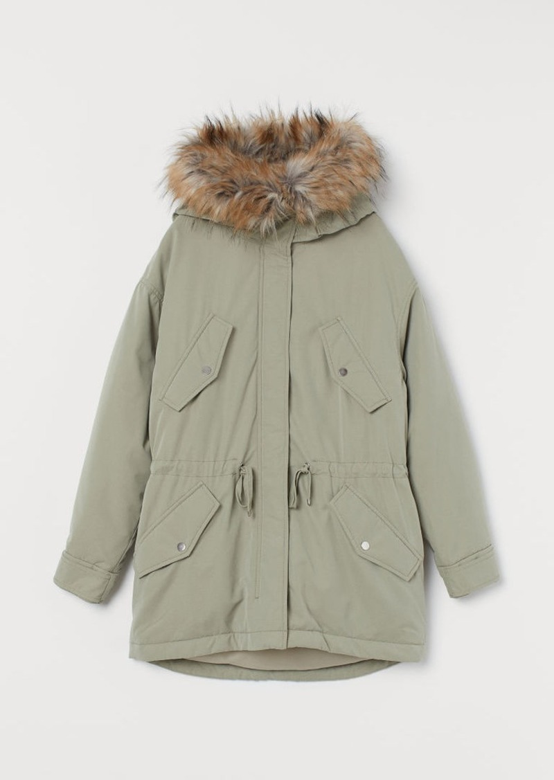 H&M H & M - Padded Parka with Hood - Green