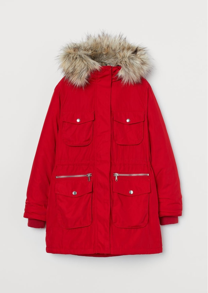 H&M H & M - Padded Parka with Hood - Red