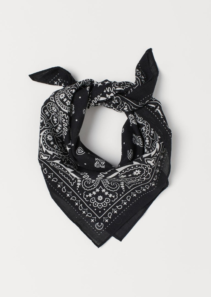 H&M H & M - Paisley-patterned Scarf - Black