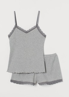 H&M H & M - Pajama Camisole Top and Shorts - Gray