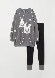 H&M H & M - Pajama Top and Leggings - Gray