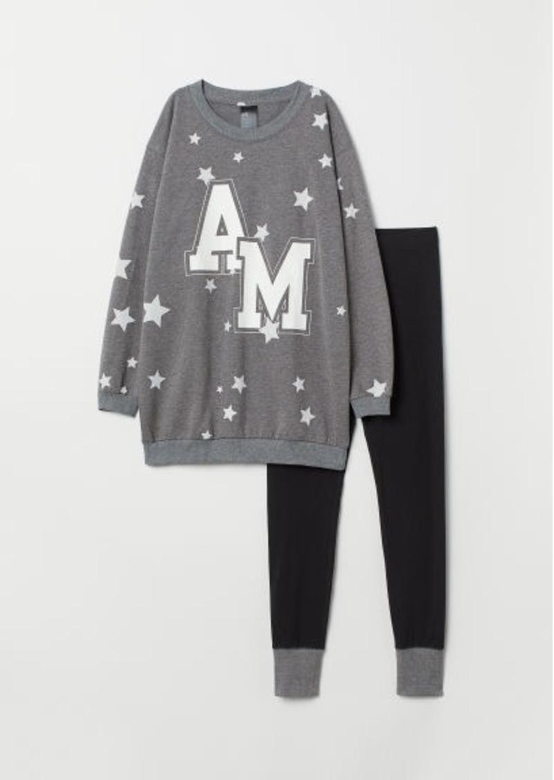 H&M H & M - Pajama Top and Leggings - Gray