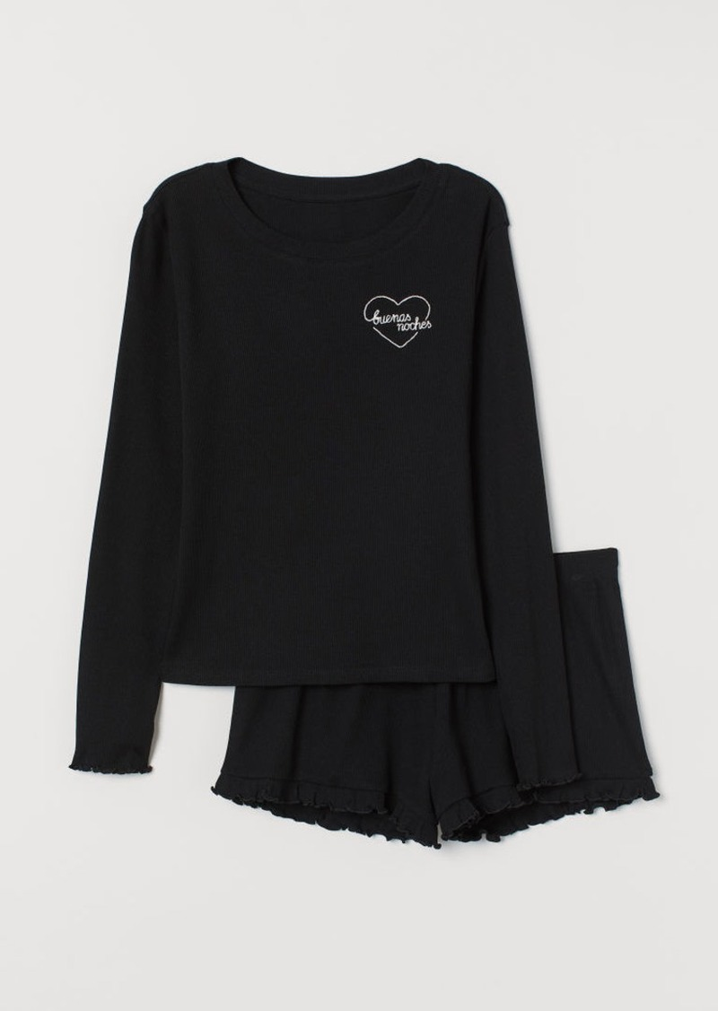 H&M H & M - Ribbed Jersey Pajamas - Black