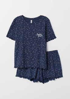 H&M H & M - Pajama Top and Shorts - Blue
