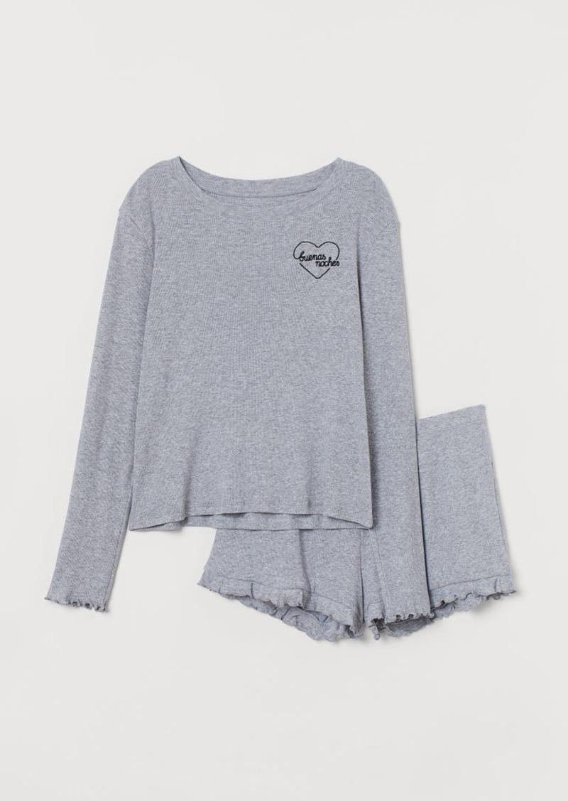 H&M H & M - Ribbed Jersey Pajamas - Gray