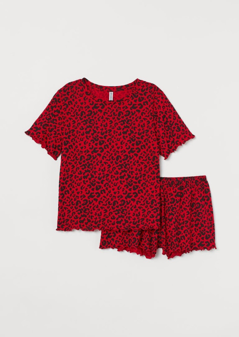 H&M H & M - Pajama Top and Shorts - Red