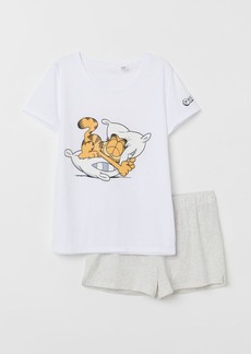 H&M H & M - Pajama Top and Shorts - White
