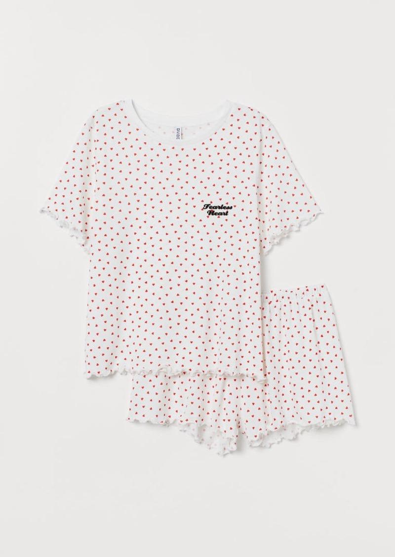 H&M H & M - Pajama Top and Shorts - White