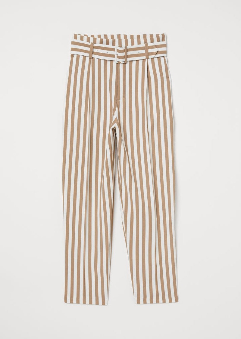 H&M H & M - Pants with Belt - White