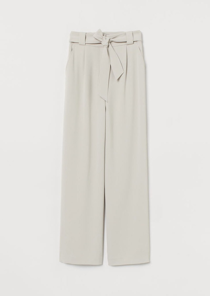 H&M H & M - Pants with Tie Belt - Beige