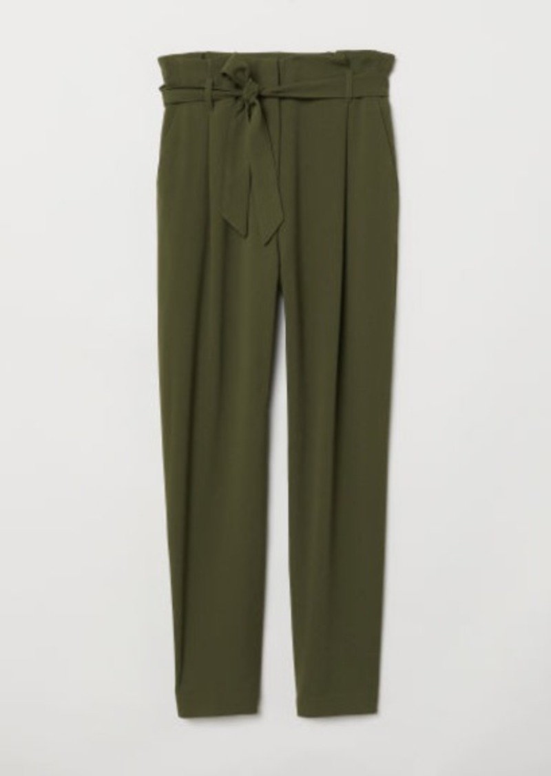 low cost uk store look out for H & M - Paper-bag Pants - Green