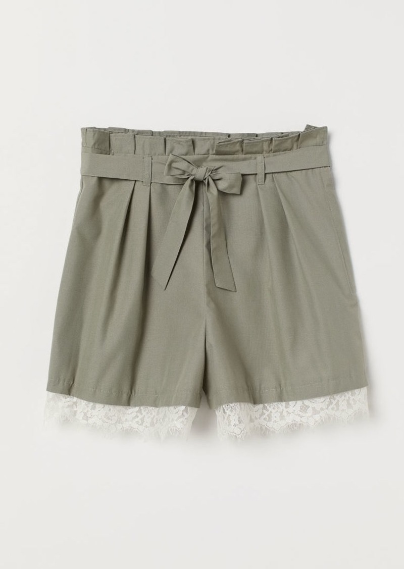H&M H & M - Paper-bag Shorts with Tie Belt - Green