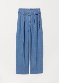 H&M H & M - Paper-bag Pants - Blue