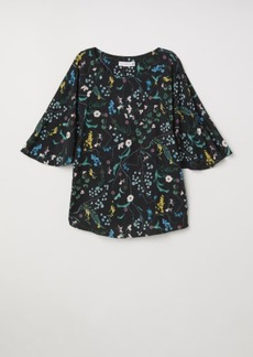 H&M H & M - Patterned Blouse - Black