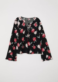 H&M H & M - Patterned Blouse with Lacing - Black