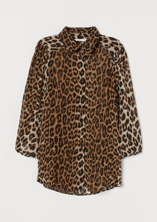 H&M H & M - Patterned Chiffon Blouse - Beige