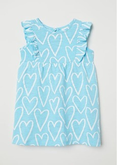 H&M H & M - Patterned Cotton Dress - Turquoise