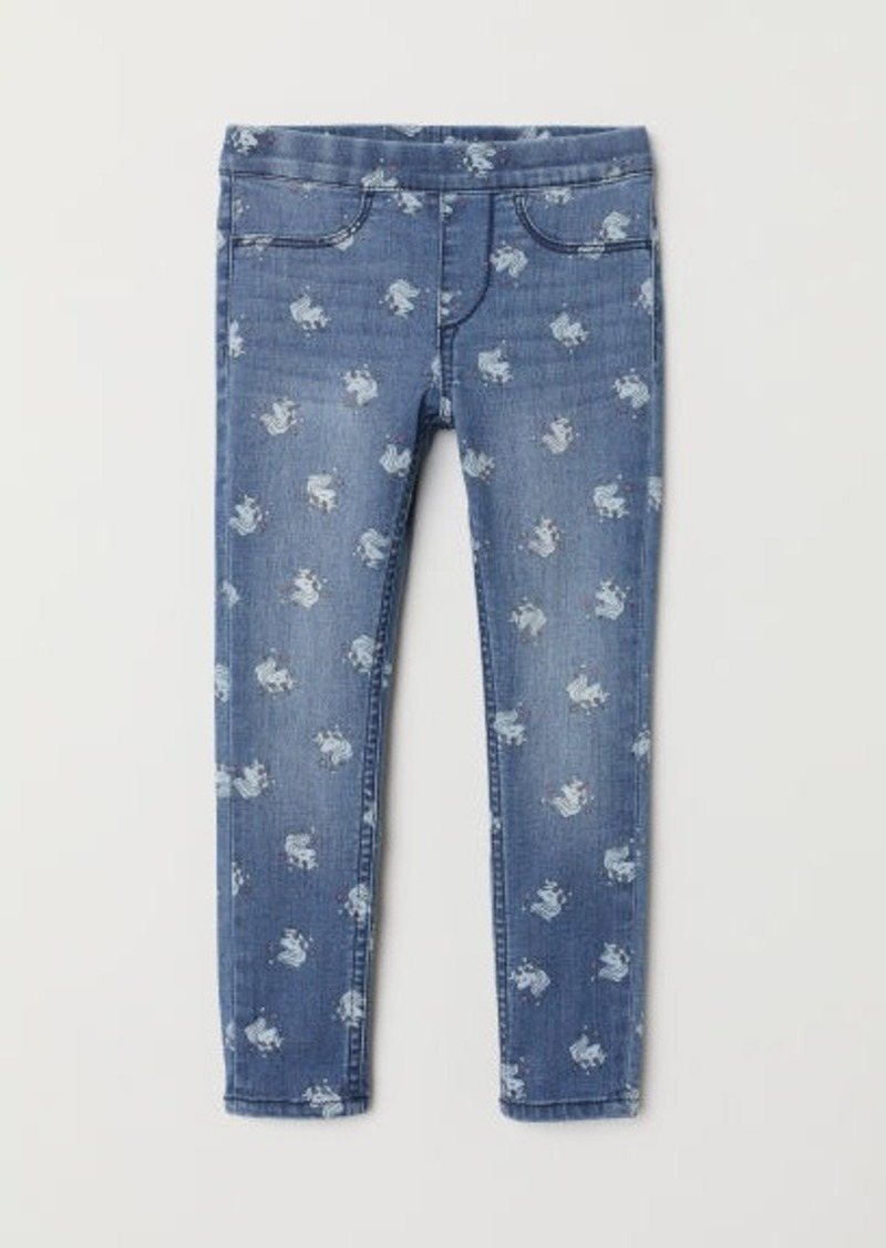 H&M H & M - Patterned Denim Leggings - Blue
